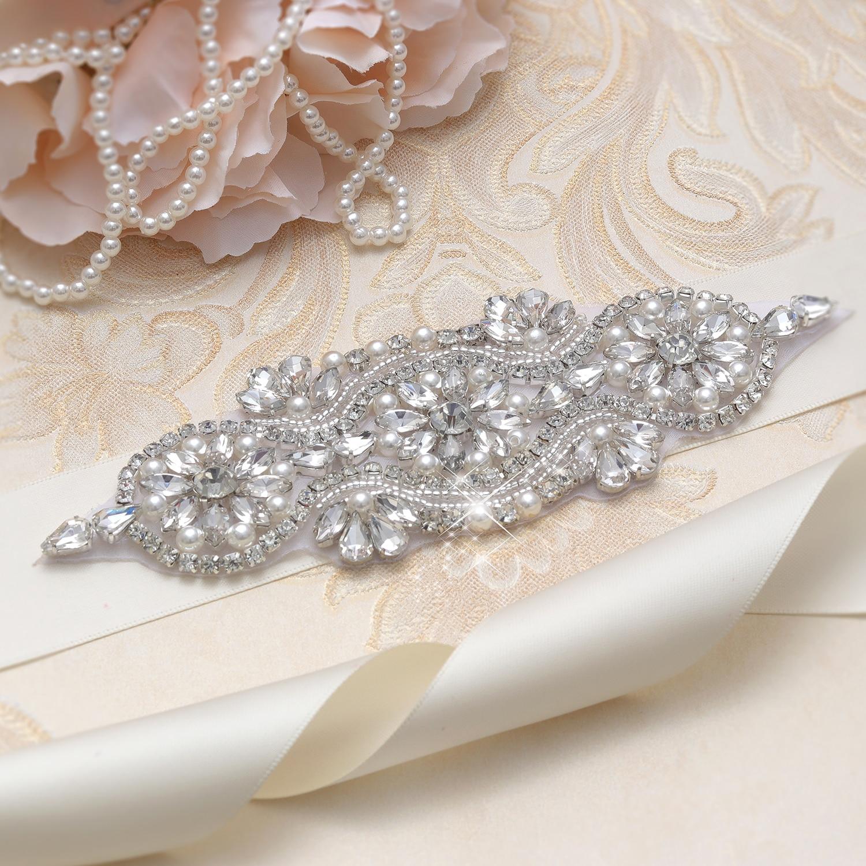 MissRDress Crystal Wedding Belt Handmade Pearls Beads Bridal Belt Silver Rhinestones Bridal Sash For Wedding Evening Dress JK842