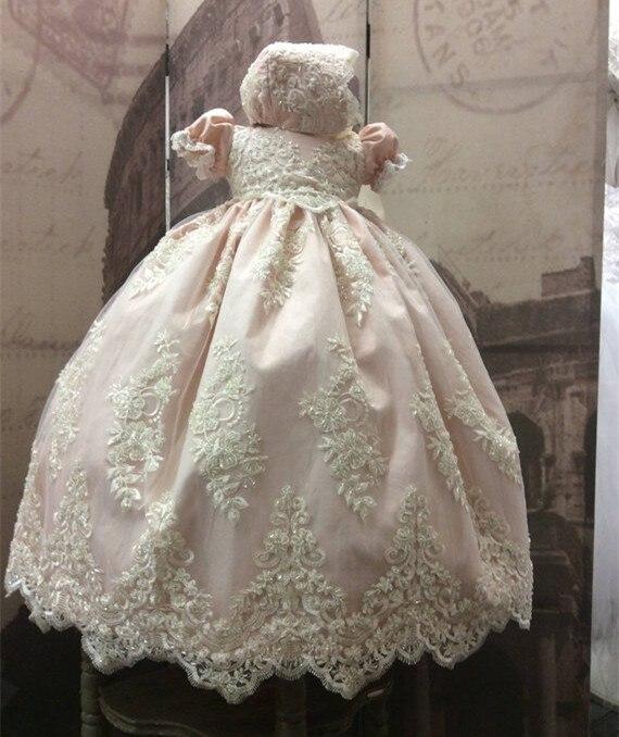 Новый Румяна бисером кружева младенческой платье на крестины для девочек для маленьких девочек платье на крестины длинные крестильное пла