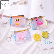 XZP Laser Cartoon Coin Purses Creative Owl Unicorn Flamingo Pattern Jelly Clear Purse Kid Women Small Key Bag PVC Mini Wallet cartoon coin purse money bag wallet owl pattern