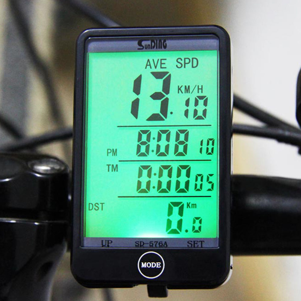 Sunding SD - 576A Light Mode Touch Wired Auto Bike Computer Bicycle Speedometer Odometer Stopwatch with LCD Backlight
