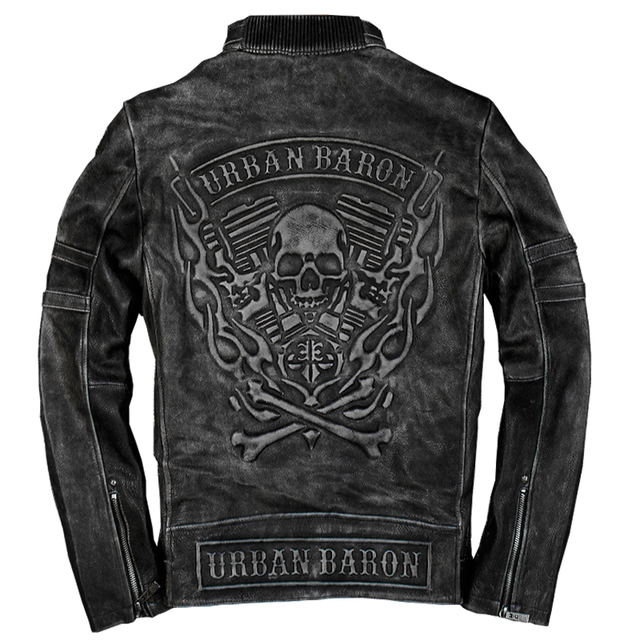 URBAN BARON SKULL COWSKIN GENUINE LEATHER JACKET