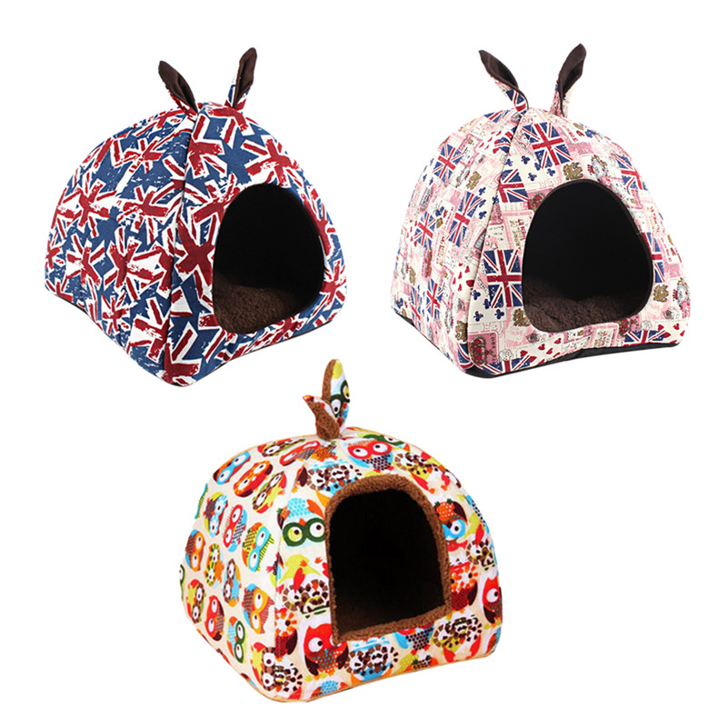 Hoomall Printed Plush Cloth Nest For Small Medium Dogs Dog Bed Mat Kennel Soft Dog Puppy Cats Winter Warm Bed House Pet Supplies