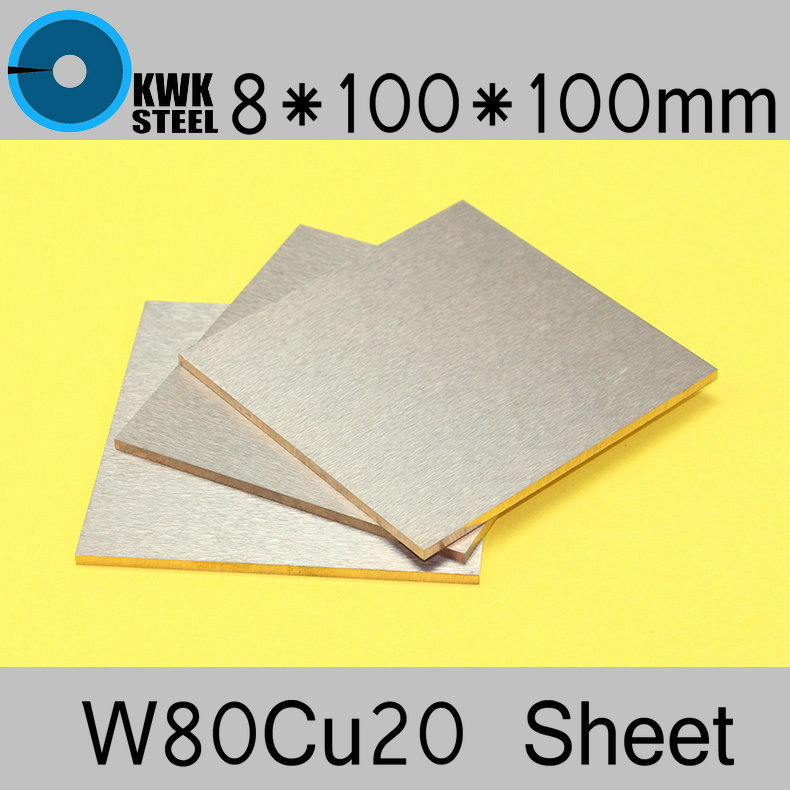 8*100*100 Tungsten Copper Alloy Sheet W80Cu20 W80 Plate Spot Welding Electrode Packaging Material ISO Certificate Free Shipping