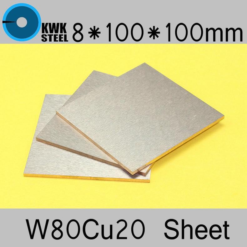 8*100*100 Tungsten Copper Alloy Sheet W80Cu20 W80 Plate Spot Welding Electrode Packaging Material ISO Certificate Free Shipping