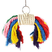 Colorful Parrot Swing Bird Toy Parakeet Cockatiel Budgie Rope Harness CageToys