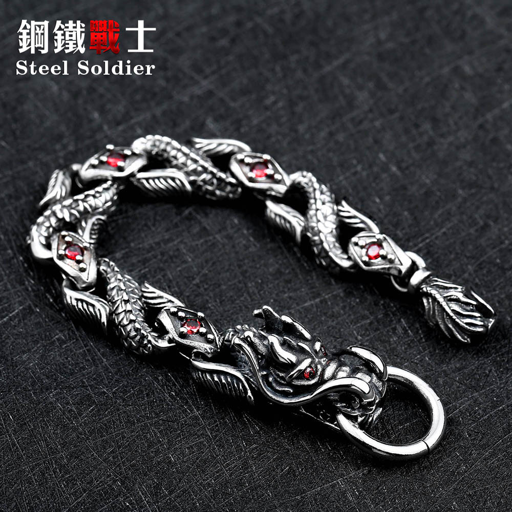 Steel soldier new arrival stainless steel dragon bracelet men jewelry fashion accessories 2018