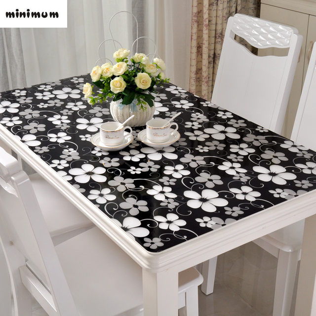 Charmant Black Tablecloth Pvc Soft Glass Table Mats Waterproof Anti Hot Coffee Table  Cover Crystal Plate Wood Table Protection Cover