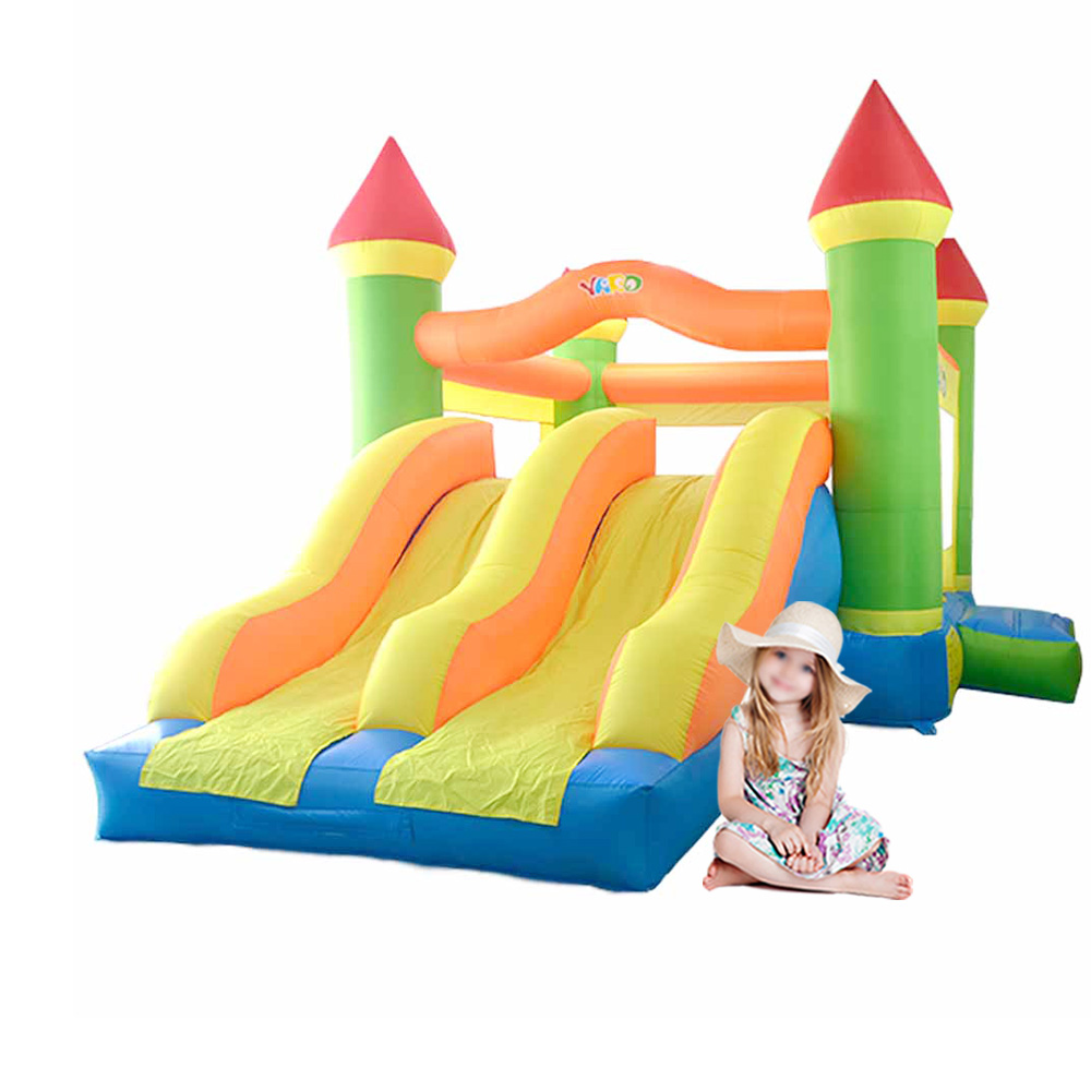 Inflatabel Bounser YARD 6048  Inflatable Bouncer PVC 420D polyester Jumping Castle Double Inflatable Slide Smoothly With Blower yard free shipping in stock tiny bouncy castle pretty inflatables slide bouncer with blower kids playground