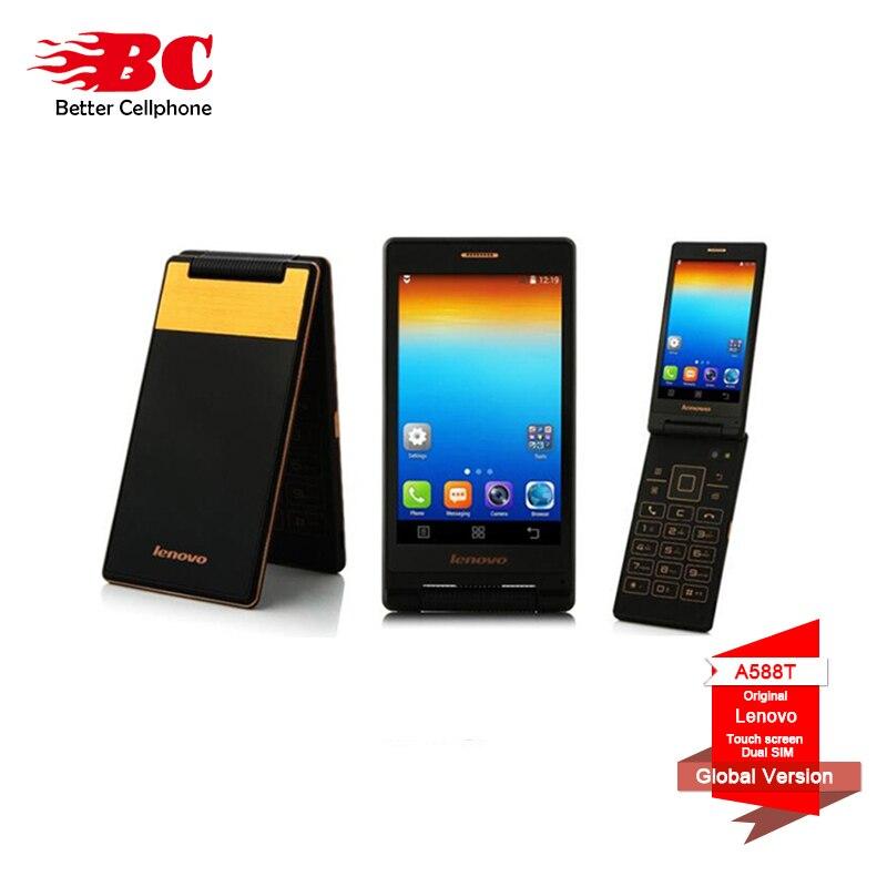 Ordinateur Portable d'origine Lenovo Android Flip Ancien Téléphone A588T MTK6582 Quad Core téléphone Intelligent 4 gb ROM Double Sim 4.0 pouce 5MP caméra langue Russe