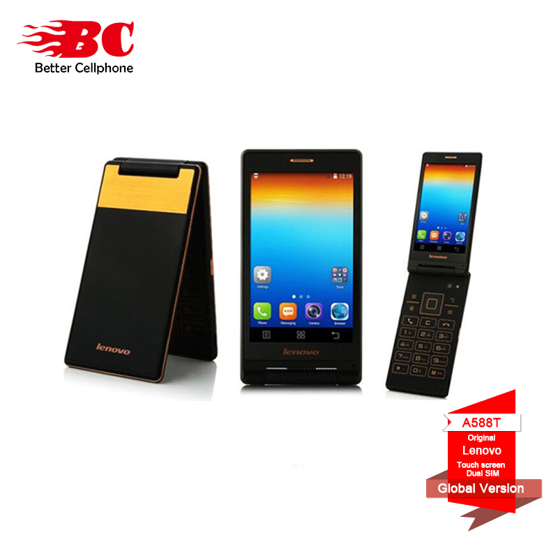 Original Lenovo Android Flip Old Phone A588T MTK6582 Quad Core Smart phone 4GB ROM Dual Sim 4.0 Inch 5MP Camera Russian language