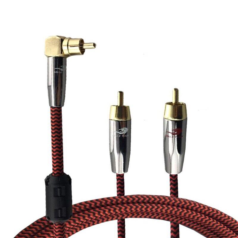 Angle RCA à 2 Droite RCA Audio Câble Hifi Amplificateur Décodeur haut-parleur Subwoofer Splitter RCA Y Câble OFC 1 M 2 M 3 M 5 M