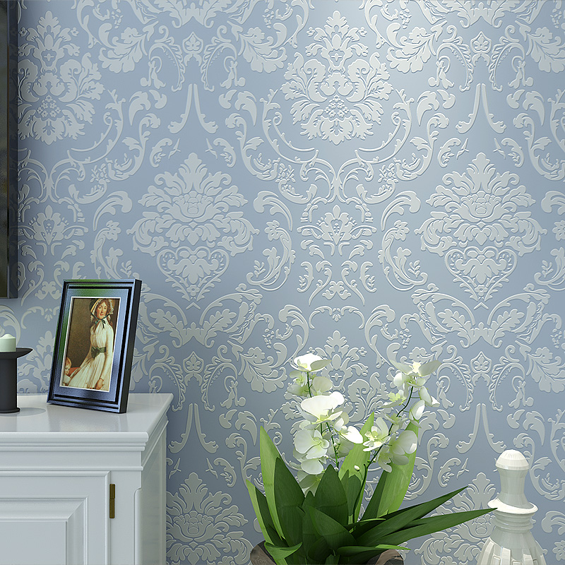 New European classic luxury non-woven wall paper 3d stereo Damascus bedroom living room TV backdrop wallpapers home improvement environmentally friendly 3d cartoon wall roll ocean fish kids room tv backdrop wallpapers boy girl bedroom non woven wall paper