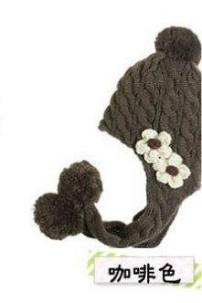 1 шт., новинка два цветы коса детская вязаная шапочка, мода осень и зима warmmer шляпы для детей, 3 цвета - Цвет: Коричневый