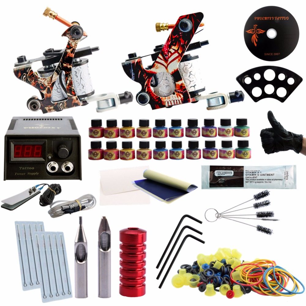 Tattoo 2 Machines Grip Tips 20 Colors Ink Black Power Supply Needles Kit Permanent Make Up Tattoo Professional Set europe god of darkness robert recommend gp self lock grips gp3 professional tattoo artist grip