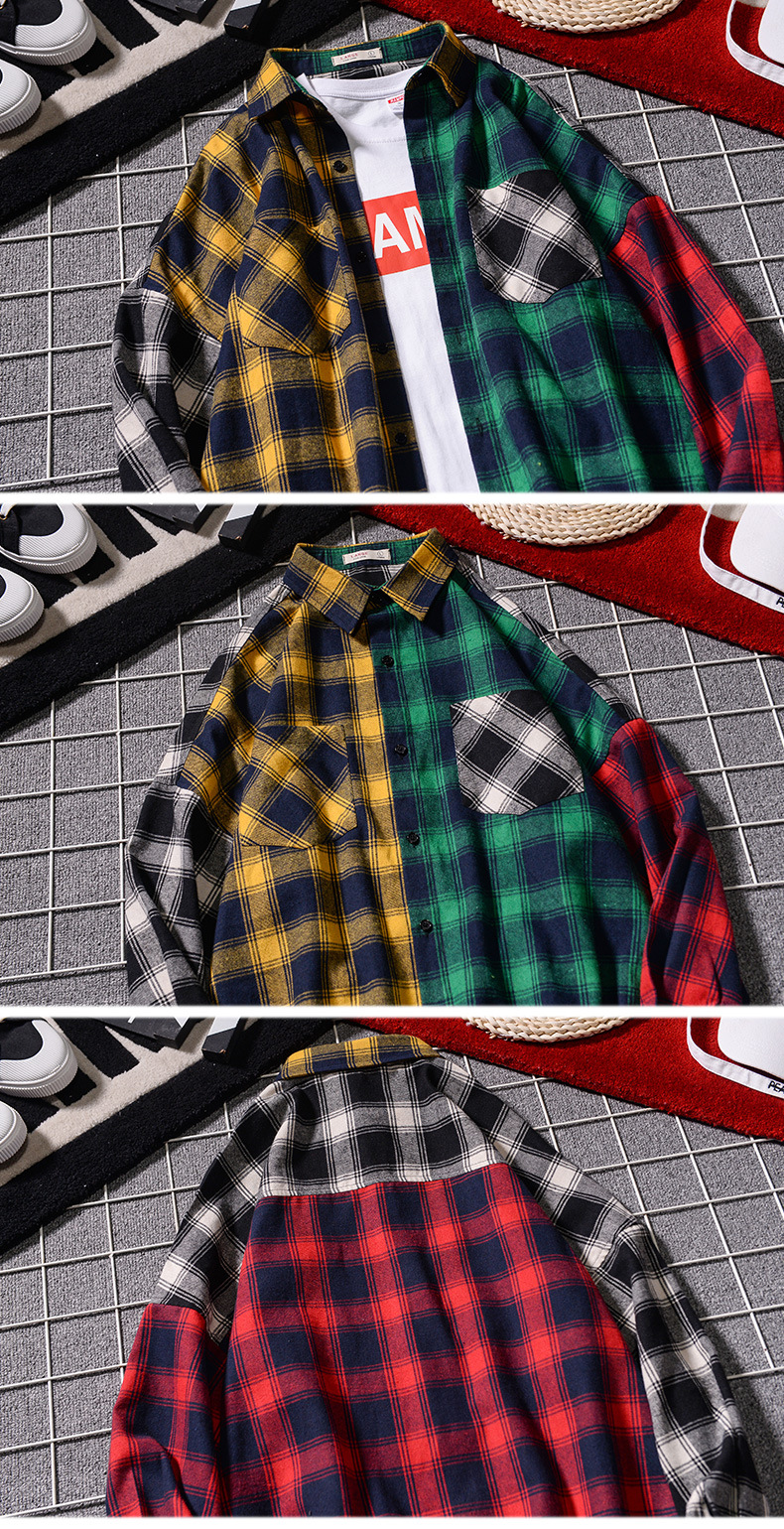 Men 's Loose Plaid Shirt Casual Jacket Student Shirt Plaid Long Sleeve Shirt Spring And Autumn Loose Color Matching Male Shirt 3