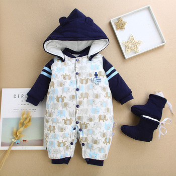 BibiCola Newborn Clothing Baby Boys Girls Winter Rompers Jumpsuit Clothes Toddler Infant Hooded Cartoon Thick Warm Snowsuit  одежда на маленьких мальчиков