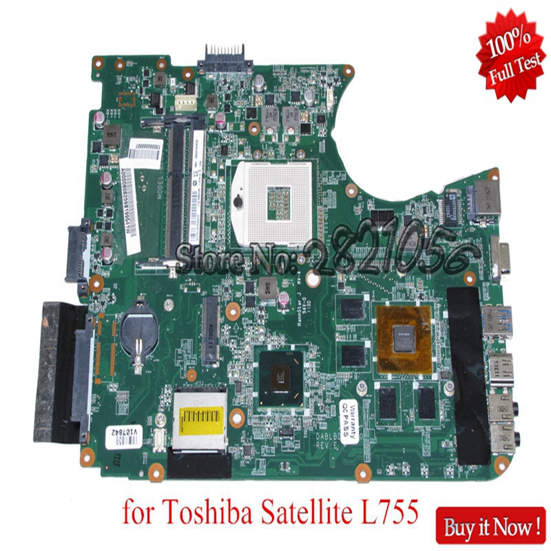 NOKOTION for toshiba satellite L750 L755 laptop motherboard DABLBDMB8E0 A000080820 HM65 DDR3 GeForce GT525M for toshiba satellite l755 laptop motherboard intel hm65 ddr3 socket pga989 a000080670 100% tested good