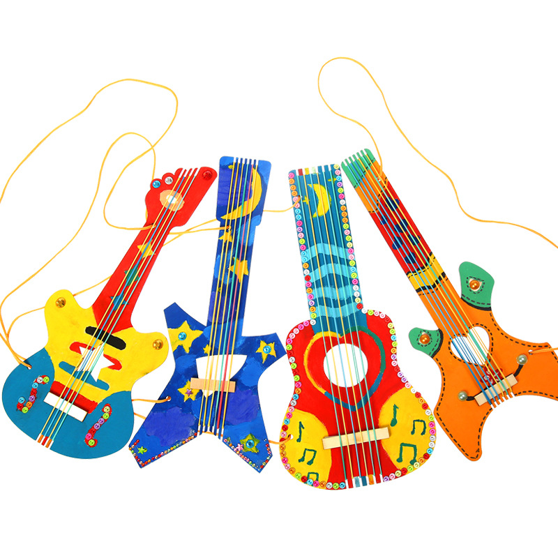 Wooden Guitar Teaching Kindergarten Manual Diy Weave Cloth Early Learning Education Toys Montessori Teaching Aids Math Toys