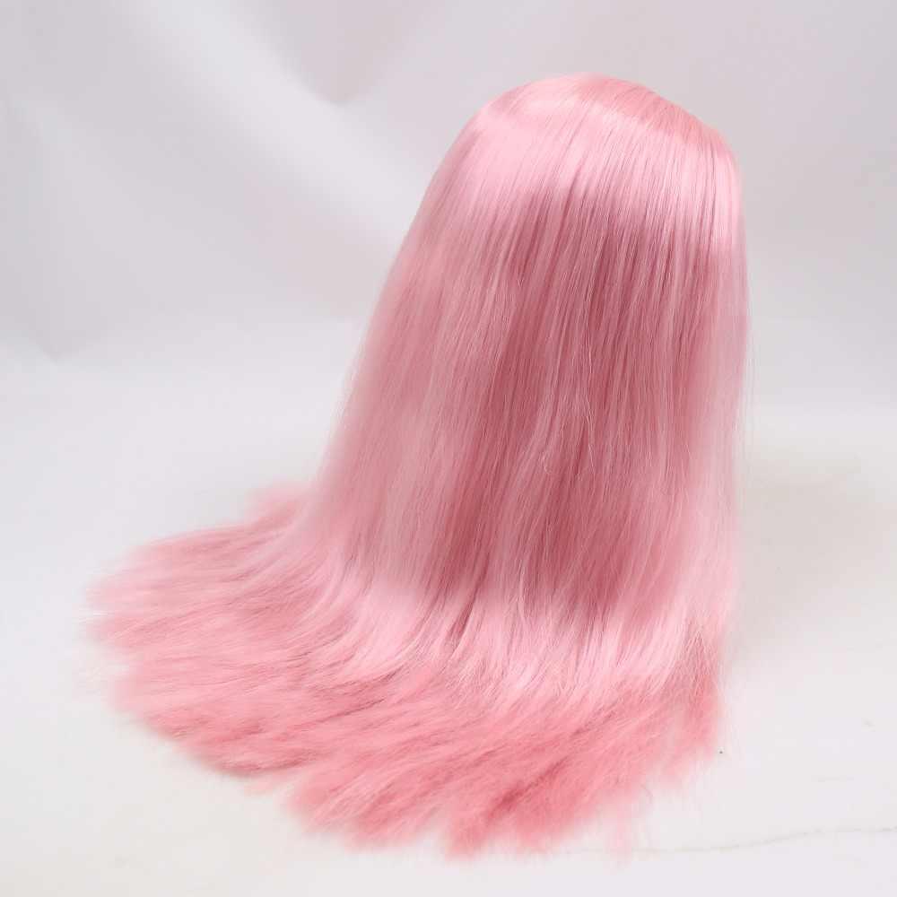 Для куклы blyth, ледяной парик, только для кожи головы и купола, розовый, бледно-синий, желтый, прямой парик для волос