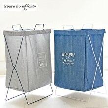 Big Size Square Laundry Basket ZAKKA Style Cotton Solid Color Washing Clothes Storage Bag Toy