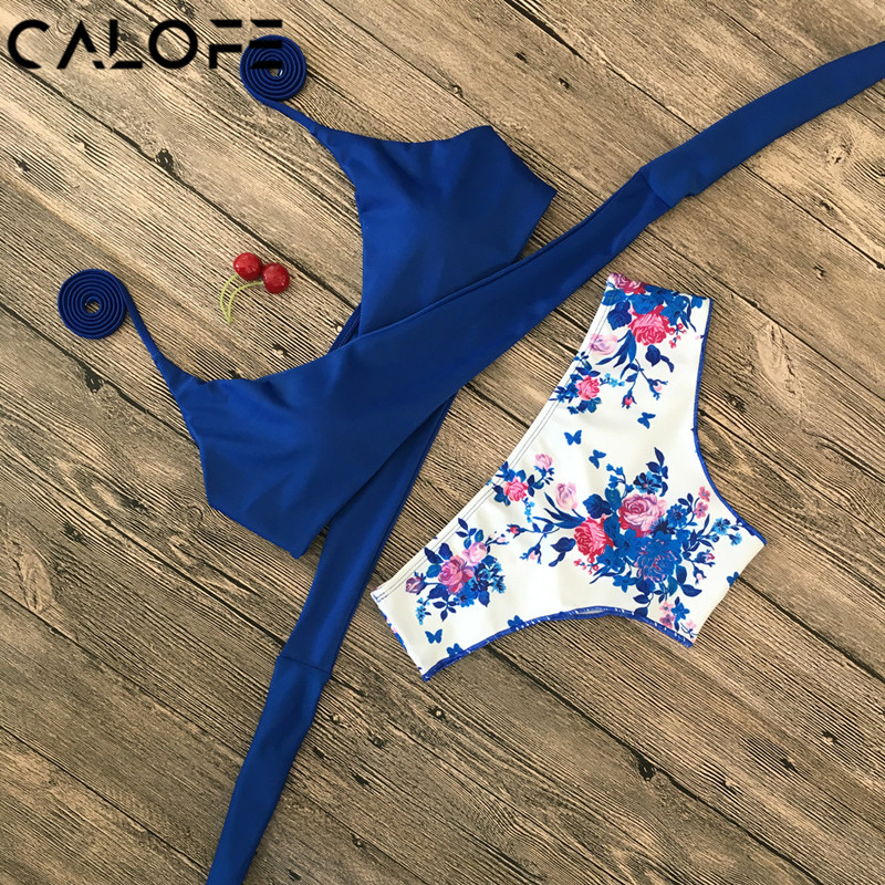 Halter Swimwear Bikini 2018 Floral Print Thong Bikini Blue Set Women Bikini Brazilian Swimwear female Biquinis Push Up Swimsuit halter flag print bikini patriotic swimwear