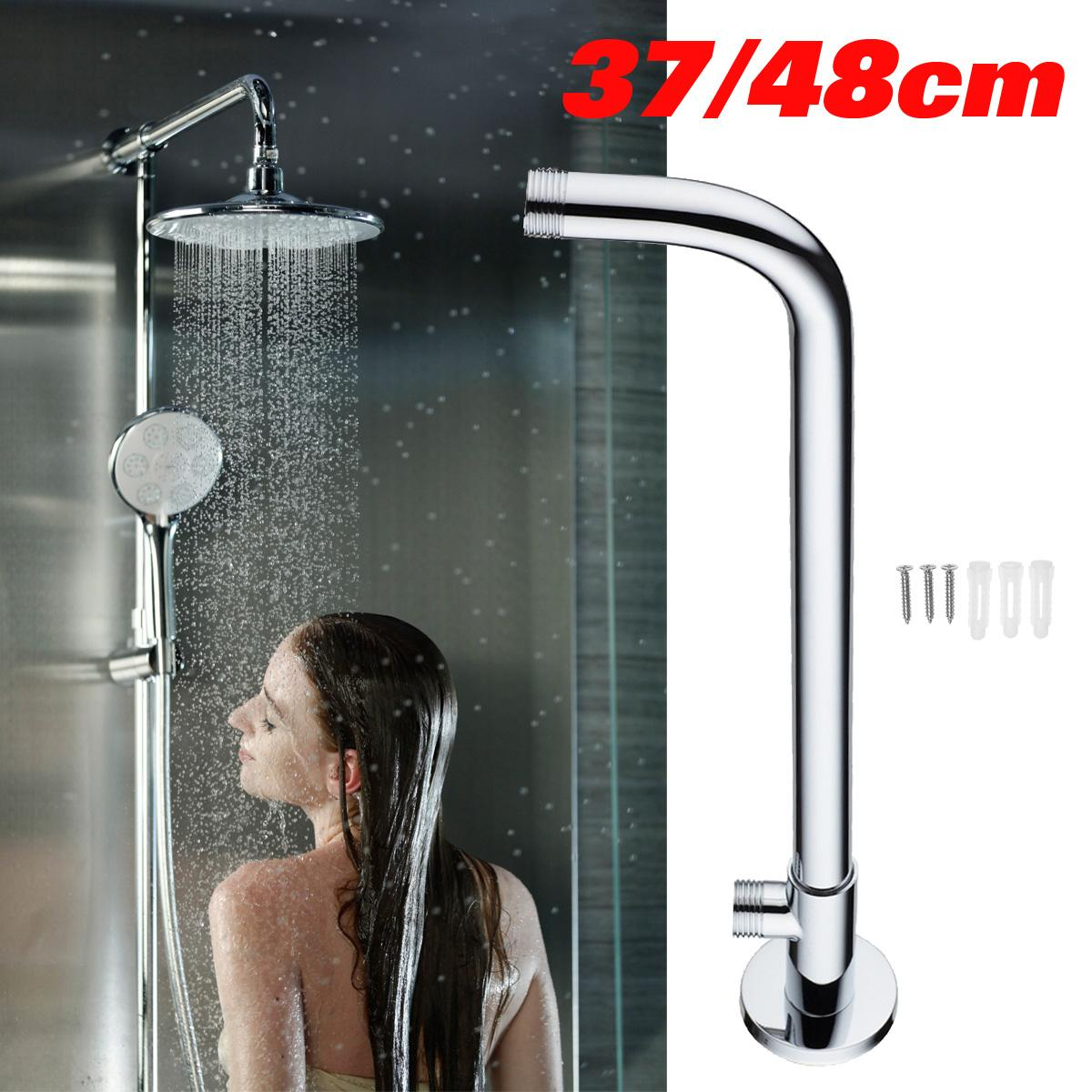 Wall Mounted Shower Head Extension Arm Bottom Entry Hose Shower Extension Arm Fitting Mount Base For Home Bathroom 370mm/480mm