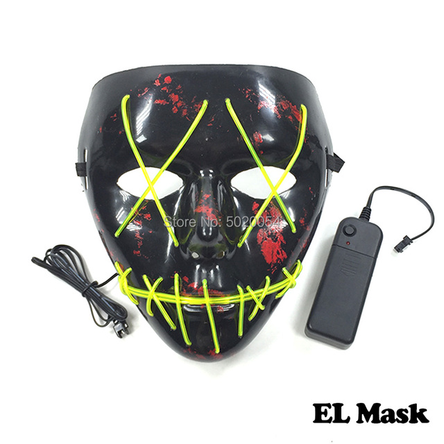 Hot Selling Mask Supplies Halloween Scary EL Wire Mask Horror Face led Glowing Mask Powered by DC-3V Driver