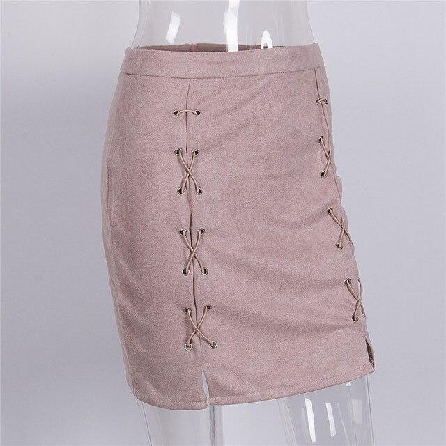 Otoño Invierno LACE up cuero Suede lápiz falda Invierno 2016 Cruz Alta  cintura falda zipper split 386908736f44