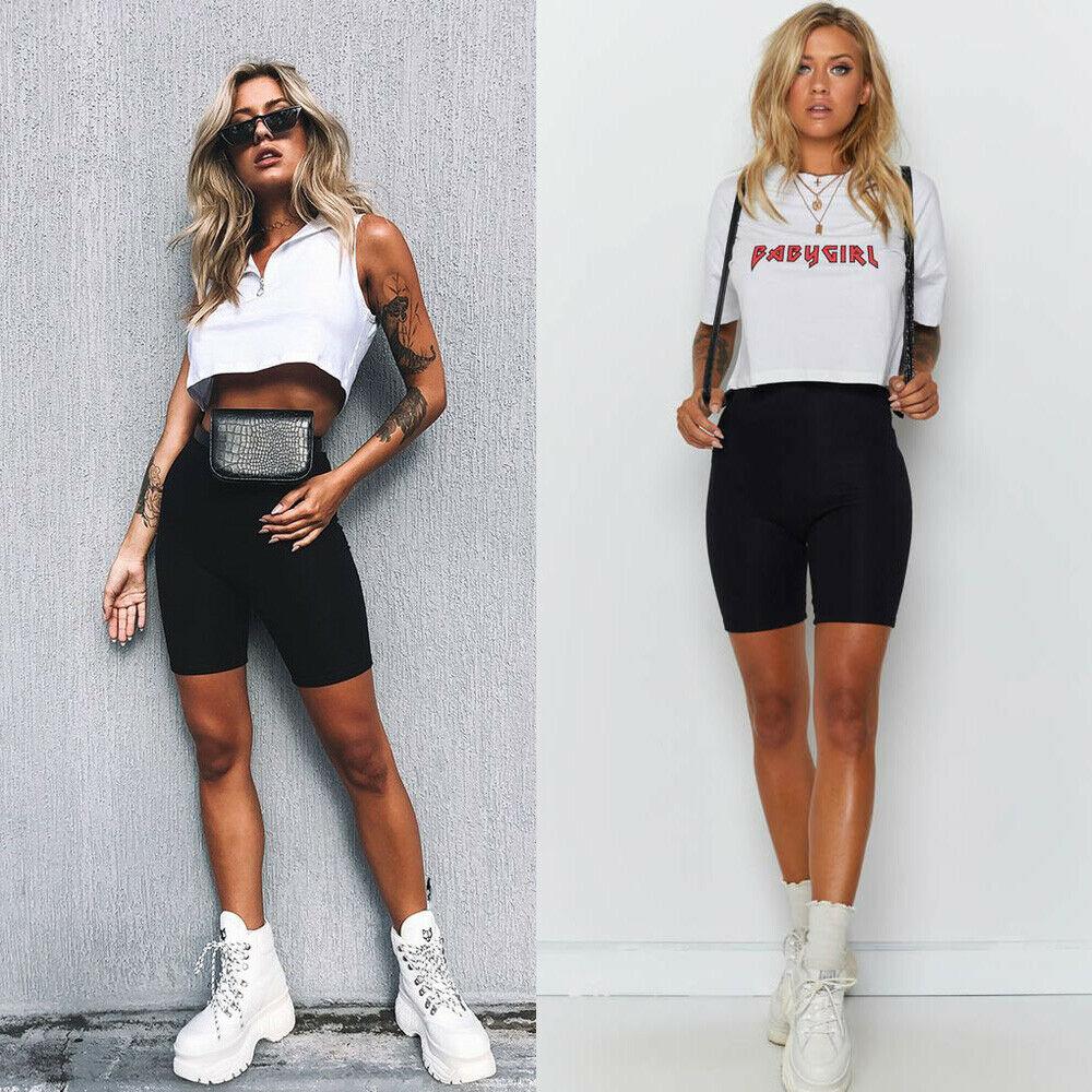 2019 новые женские Модные Повседневные Удобные велосипедные однотонные шорты с высокой талией танцевальные спортивные байкерские спортивные шорты G0711