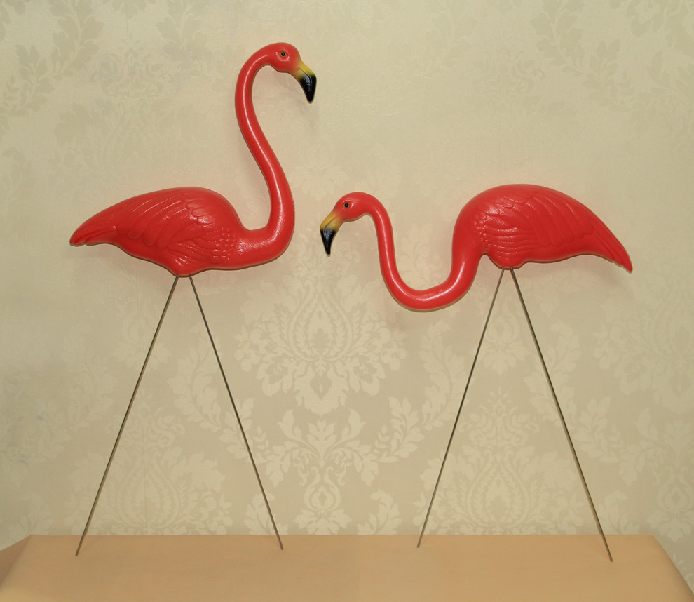 Flamingo garden ornament - 10 Pairs Plastic Bright Pink Flamingo Garden Yard And Lawn Art Ornament Wedding Ceremony Decoration