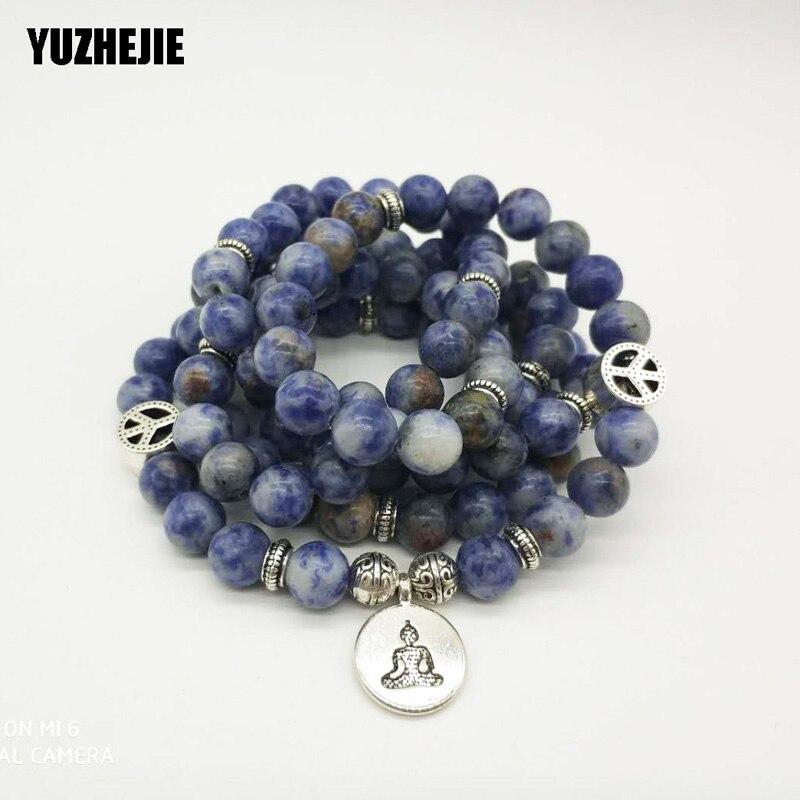 YUZHEJIE New Arrival Design Women`s 108 Mala Beads Bracelet Vintage Blue Aventurine Quartz Yogi Bracelet Necklace Lotus Bracelet