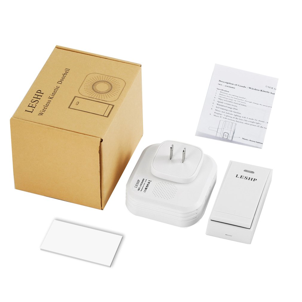 LESHP Easy to Install Music Wireless Doorbell 150M Long-distance Remote Control Night Light 58 pieces Chord Music with US Plug