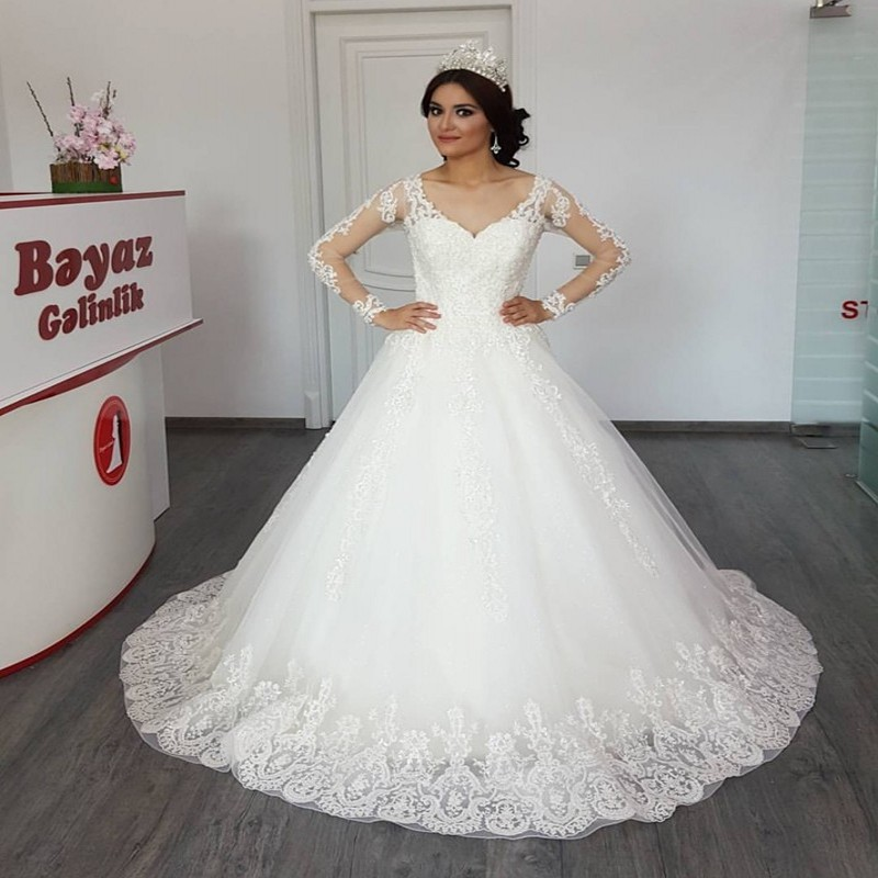Long Sleeve Wedding Dress With Lace Appliques Ball Gown Long Wedding Gown Bridal Dresses Sexy V Neck Cap Sleeve vestido de noiva