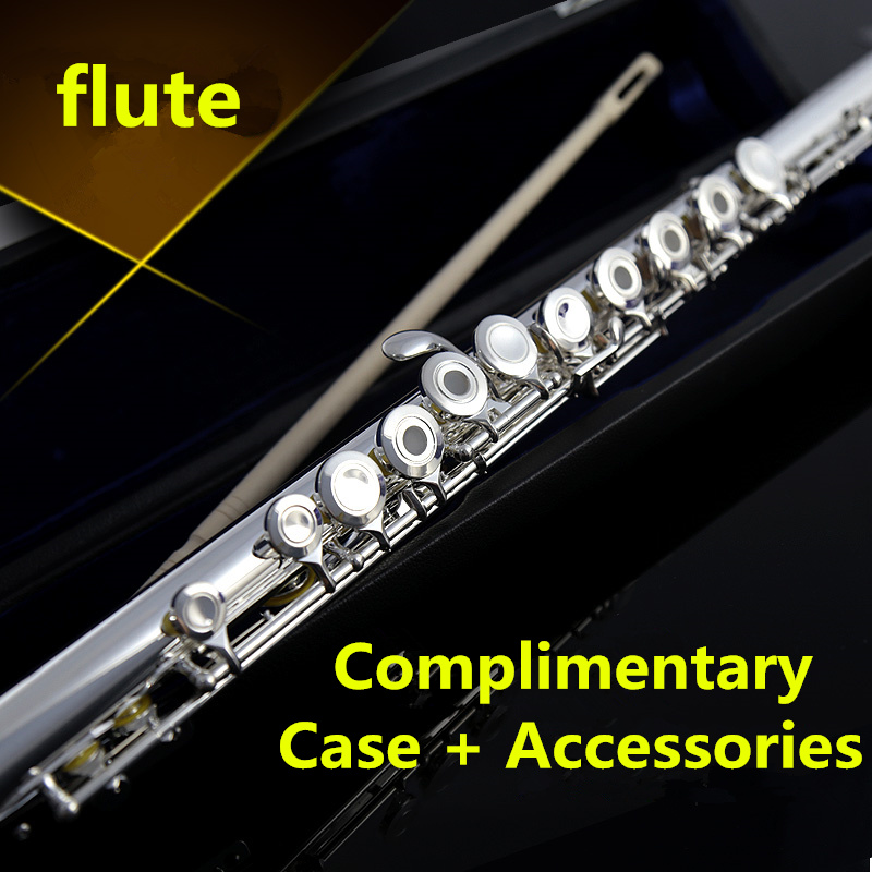 Western Concert 16 Closed Holes C Key Flute E Get FREE Case And Accessories Flauta Video Evaluation Wind Instruments musical instrument flute 16 closed hole c professional synth and e key free music