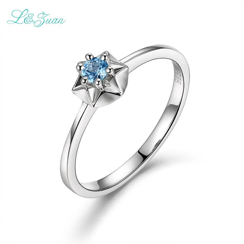 I & zuan Real S925 Prsten stříbrné hvězdy pro ženy přírodní 0.145ct Topaz modrý kámen jednoduchý design jemné šperky romantický dárek