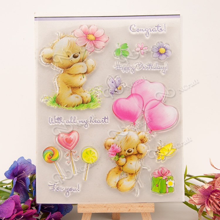 bear balloon Transparent Clear Silicone Stamp/Seal for DIY scrapbooking/photo album Decorative clear stamp sheets wish list transparent clear silicone stamp seal for diy scrapbooking photo album decorative clear stamp sheets