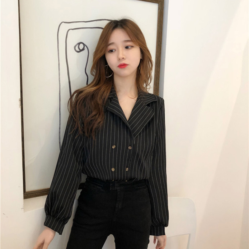 Shirts Women Simple Retro Striped All-match Double-breasted Korean Style Students Notched Womens Elegant Blouses Loose Chic 2019 2