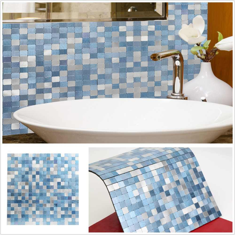 - 2019 Homey Mosaic New Design Sky Blue Peel And Stick Mosaic Wall