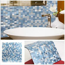 2019 Homey Mosaic New Design Sky Blue Peel and Stick Wall Tiles 4 Sheets Insulation 3d Panel for Kitchen Backsplash