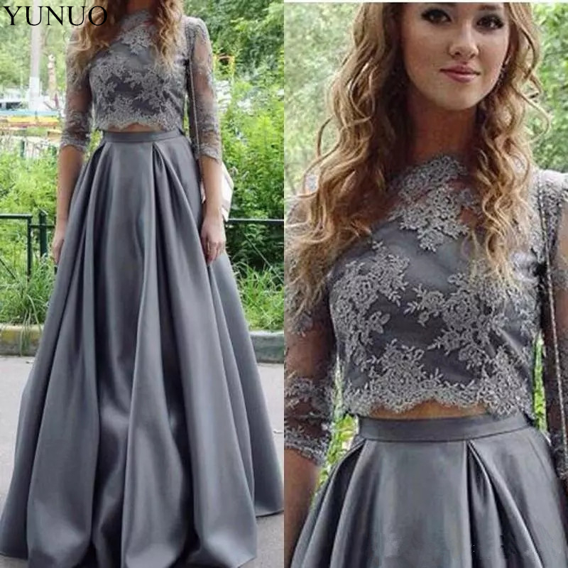 YuNuo 2019 Grey Illusion Half Sleeves Lace Appliques Two Piece   Prom     Dress   formal Party gown N4