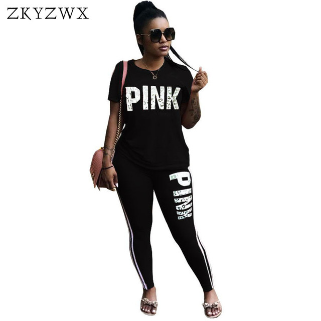 062330cceccc ZKYZWX Casual 2 Piece Set Women Pink Letter Print Sexy Sweatsuit Plus Size  Tops+Skinny