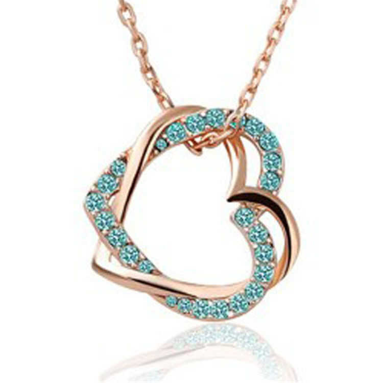 SHUANGR 9 Color Design Fashion Women's Luxury Style gold color austrian crystal full rhinestone double heart pendant necklace