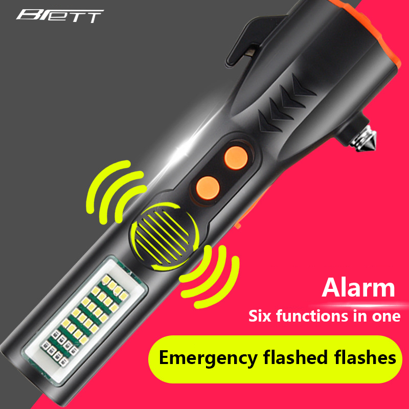 USB linterna de carga directamente seis-en-uno multi-función de lámpara resistente a los golpes, la defensa indispensable coche LED linterna