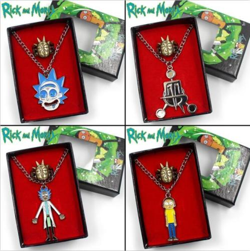 OHCOMICS 2PCS Rick and Mori Pickle Rick Hot Cartoon Anime Metal Necklace+Ring+Box Costume Accessories Pendants Ornament Decor
