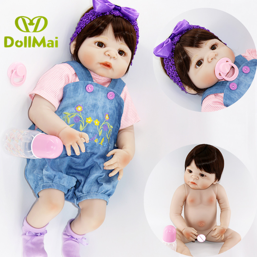 Bebes reborn 2357cm full silicone reborn girl baby dolls toys for child birthday gift real baby doll can bathe bonecaBebes reborn 2357cm full silicone reborn girl baby dolls toys for child birthday gift real baby doll can bathe boneca