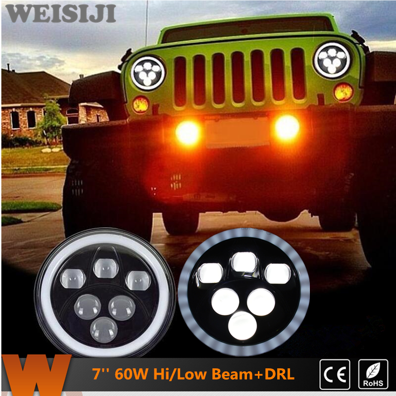 WEISIJI 1Pair 7'' LED Headlights with Cree Chips Hi/Low Beam DRL Driving Light for Jeep Wrangler Land Rover Hummer Truck Harley h4 7 led headlights with led car canbus led chip 80w 8000lm 6000k hi lo led driving light for off road uaz lada