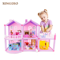 Large DIY Princess doll house small villa dollhouse castle simulation home room dream girl toy miniature furniture children gift