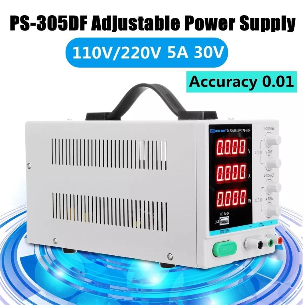 Power Supply Adjustable 30V 5A DC Current Voltage Regulator Switching Regulated 5V 2A Output USB Power Supply 110V 220V Input
