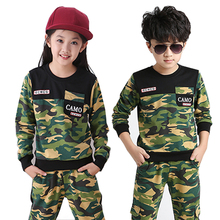 Brand boy and girls Children Clothes Set Teenage Boy School Camouflage Outfit Kid Tracksuit Top+ Pant TZ50