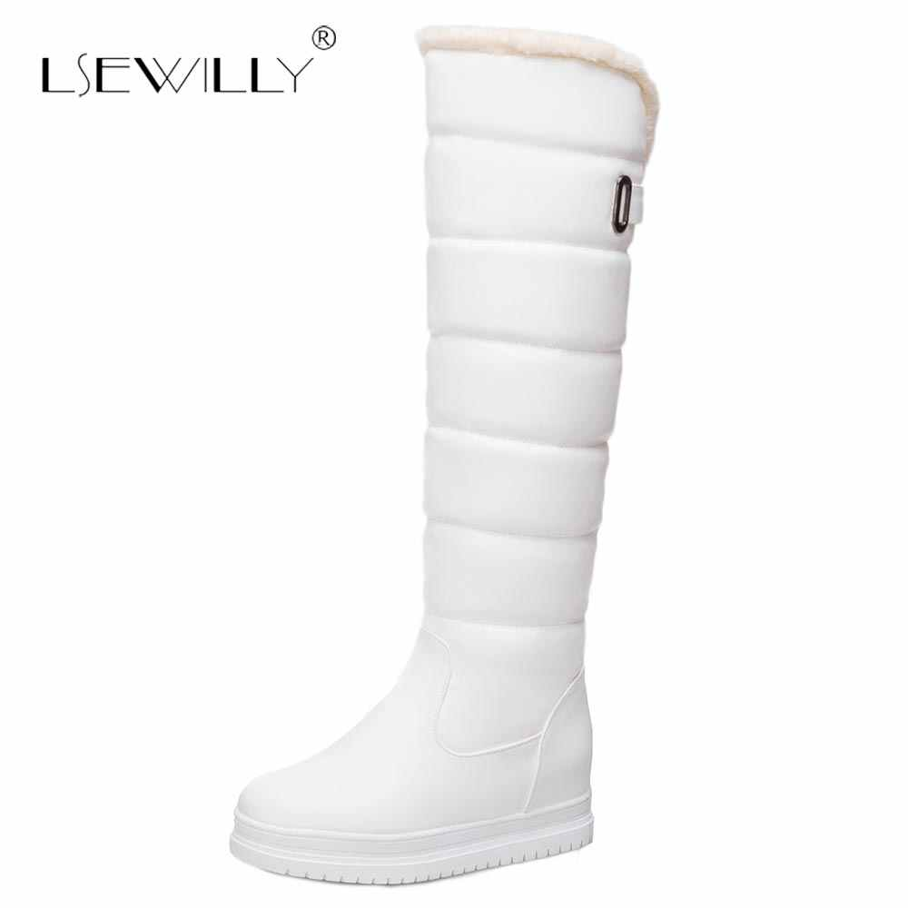 Lsewilly Artı Boyutu 34-43 Diz Yüksek Kar Botları Kadın Platformu Gizli topuk Kış sıcak Peluş Su Geçirmez Uzun Çizmeler bayanlar için E164